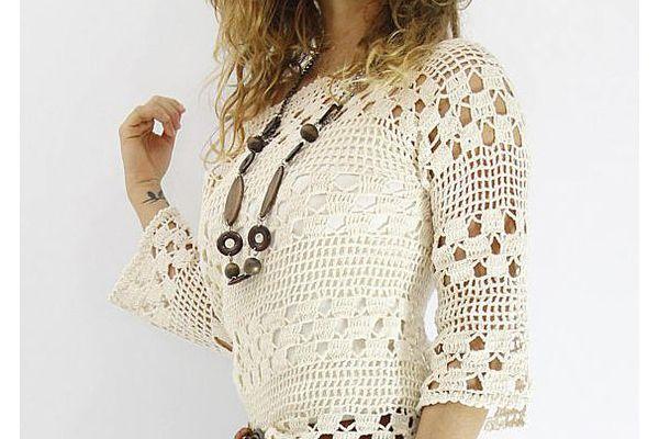 como hacer una blusa blanca en crochet